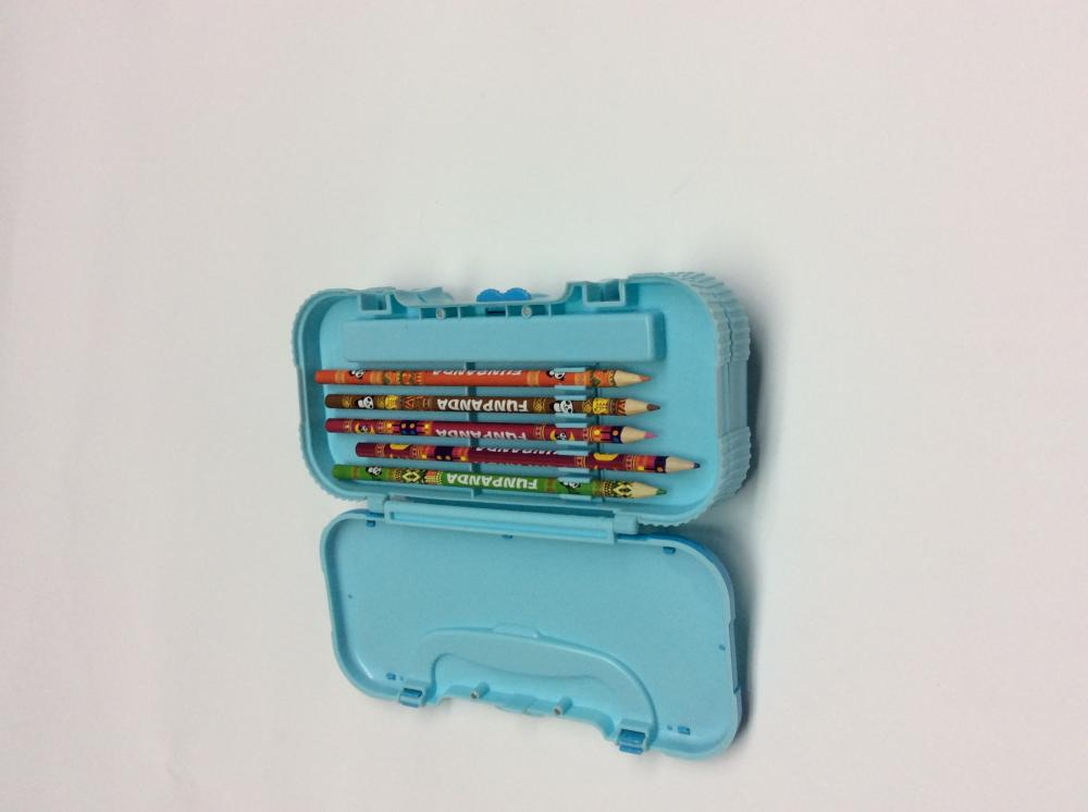 Plastic three-layer pencil box