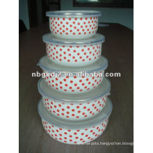 good promotion enamel mixing bowl sets with plastic cover