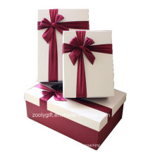 Quality Textured Art Paper Color Matched Gift Boxes with Ribbon Decoration