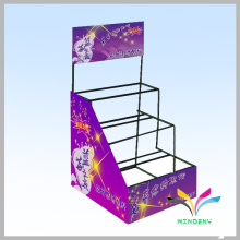 3 tray black foldable wire metal cosmetic pharmacy display stand