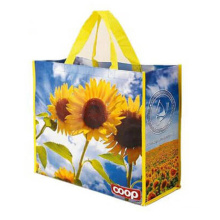 Wholesale custom handled pictures printing eco friendly recycle reusable PP laminated non-woven tote shopping bag
