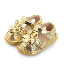 Золотые большие цветные детские скрипучие сандалии