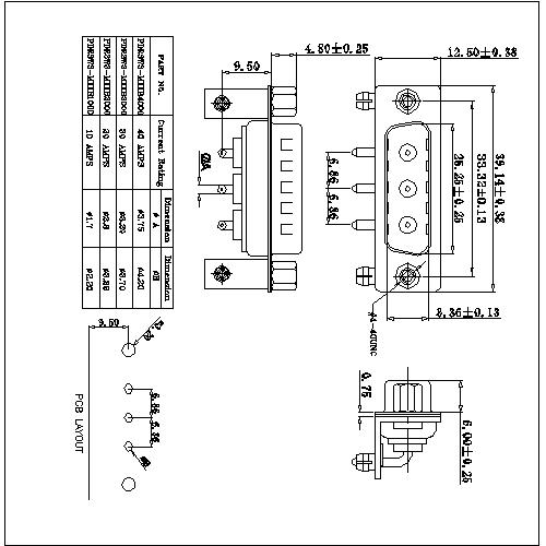 PDR3W3-MXXX00 POWER D-SUB 3W3 Right angle PCB-MALE TYPE