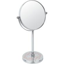 Metall-Make-up-Spiegel mit Blüten-Druck auf dem Ständer