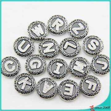 Nouveaux boutons de pression de lettre d'arrivée pour les bijoux de bracelet en cuir