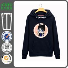 2016 schwarzer Vlies-Druck-preiswerter Pullover-FrauenHoodie