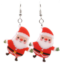 Wholesale Long Pendant Colorful Santa Claus Earrings Acrylic Christmas Snowman Plastic Earrings