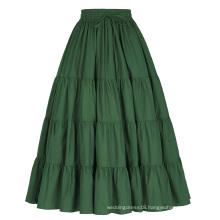Belle Poque Women's Solid Green Color Wide Hem Cotton Maxi Skirt Long Skirt BP000207-3