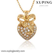 32547-Cristal con mejores ventas L en forma de corazón Diamante CZ 18k Collar colgante de joyería de oro plateado