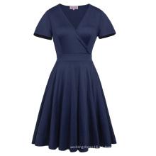 Hanna Nikole manga corta cuello en V azul marino más tamaño vestido de dama de honor swing verano HN0017-2