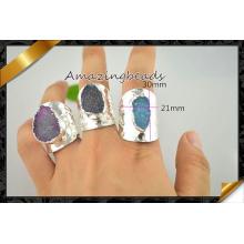 Bague en pierres précieuses en orteil Druzy Slots en mélange, bijoux en argent et bijoux (FR013)
