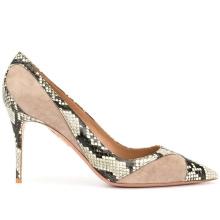 Gold Faux snakeskin Plastic Footwear Heels Genuine Leather Women Sandals
