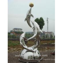 Aço inoxidável Dolphins esculturas de metal moderno