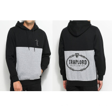 Trap Lord Paneled Pullover Black Gray Paneled Hoodie