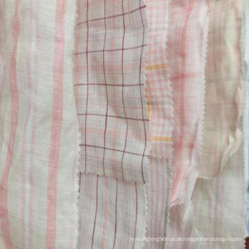 Neue Bestellung MOQ 500 Meter rosa gelb 100% Leinen kühlen Natrual Garn gefärbt Stoff für Shirt Kleid