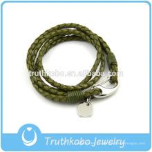 Joyas para mujer con brazaletes de langosta de acero inoxidable Pulsera de cuero con trenzas de círculo de plata verde