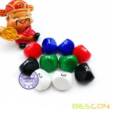 BESCON New Molding 3 Sides Dice, D3 Die, Multi-Sides Dice, Unusual Dice, Assorted Color
