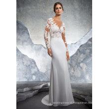 Sexy Long Sleeve Lace Satin Mermaid Ladies Women Clothes Garment Wedding Dress (5609)