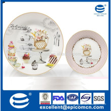 Newly designed 2 tiers decal ceramic cake stand