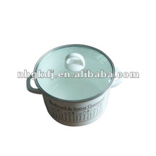 enamelware with bakelite knob and glass lid and steel handle