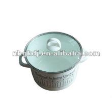 эмалированной посуды с бакелитовой ручкой и стеклянной крышкой и стальной ручкой