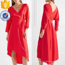 Асимметричный Подол V-образным вырезом с длинным рукавом Красное летнее платье Производство Оптовая продажа женской одежды (TA0305D)