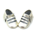 Sliver Leather Tassel Baby Sandals Unisex Mocasines para bebés