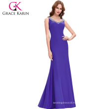 Grace Karin Sexy Backless Sleeveless Purple Mermaid Open Back Long Evening Party Dresses CL6061-5#