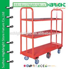 3-layer trolley cart,material handling warehouse cart,supermarket metal U boat cargo cart