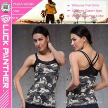 Camiseta sin mangas ajustada blanca del entrenamiento de la aptitud de las mujeres atractivas de Dri Fit