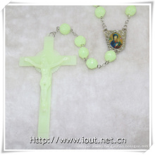 Rose Rosary Photo Connector Luminous Plastic Big 20mm Bead Necklace (IO-cr380)