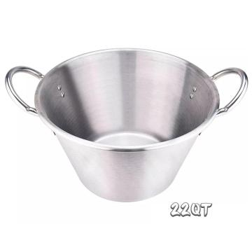 22Quart Heavy Duty acero inoxidable grande Cazo Comal