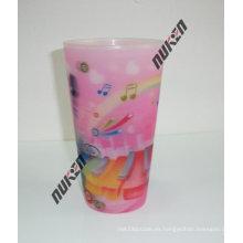 Copa plástica del animal doméstico del nuevo producto 2015 rosa