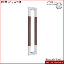 rectangle shape metal and wooden glass door knob or door handle