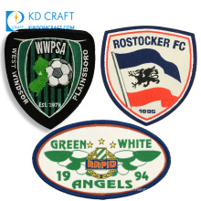 Custom design bestickte iron on embroidery woven name badge assorted hat soccer football team embroidered sport patches