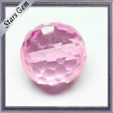 Pink Color Cubic Zirconia Checker Cut bola redonda com buraco