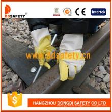 PVC jaune avec gants de jardin en coton blanc Dgp103