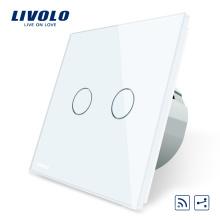 Livolo ЕС Стандартный Пульт Дистанционного Переключателя 220 ~ 250 В Настенный Светильник Дистанционный Сенсорный Выключатель 2-канальный 2 способ VL-C702SR-11