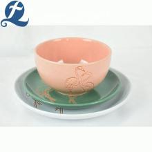 Недорогая керамическая столовая посуда ресторан вокруг красочной тарелки