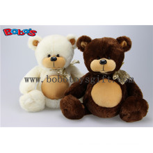 Wholesale Price Plush Stuffed Big Tummy Teddy Bear Toy with Ribbon in Beige and Brown Color