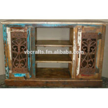 recycle wood sideboard with cast iron old grill