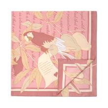 Bufanda de seda de la impresión digital de la máquina de la flor del gris amarillo