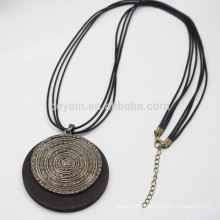 Vintage Round Wood Pendant Necklace With Black Pu Leather Cords