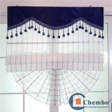 Conception de rideau aveugle romantique à rayures bleues pour fenêtre coulissante