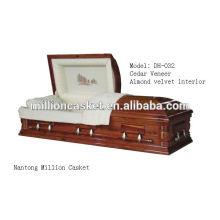 Esquife de funeral cedro folheado com madeira exportação caixões personalizados e nobre ofício