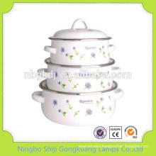 3 Pcs enamel casserole biryani cooking pot