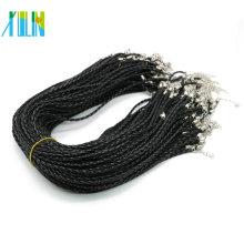 Cordão de couro trançado colar de 19 polegadas com fecho da lagosta, colar ajustável preto 3.0mm, 100 unidades / pacote, ZYN0003