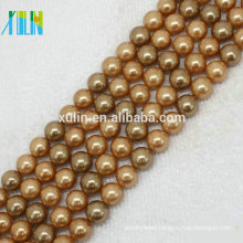 natural gemstone beads loose shell pearls 8 mm gold color