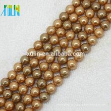 grânulos de pedras preciosas naturais solto pérolas shell 8 mm cor de ouro
