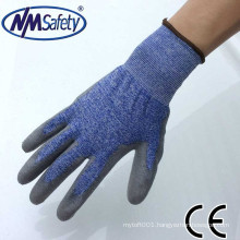 NMSAFETY safety equipment 18 knit anticut level 4 PU palm coated knitted gloves